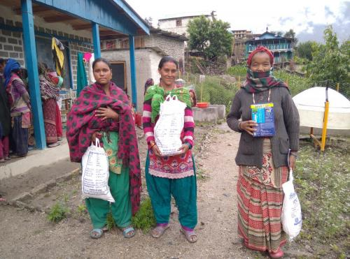 Beneficiaries received super cereal and delivery women received Horlice jharkot Birthing center at Rowa