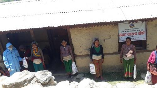 Mothers received  super cereals at Madana Health Post Tajakot RM Humla district